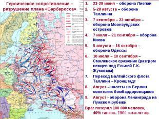 Героическое сопротивление – разрушение плана «Барбаросса»23-29 июня – оборона Ли