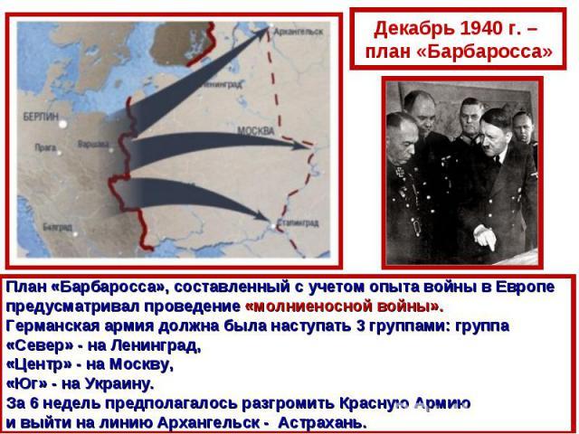 Декабрь 1940 г. – план «Барбаросса»План «Барбаросса», составленный с учетом опыта войны в Европе предусматривал проведение «молниеносной войны». Германская армия должна была наступать 3 группами: группа «Север» - на Ленинград, «Центр» - на Москву, «…