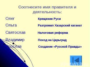 Соотнесите имя правителя и деятельность:Олег Крещение РусиОльга Разгромил Хазарс
