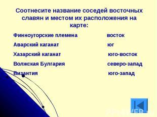 Соотнесите название соседей восточных славян и местом их расположения на карте:Ф