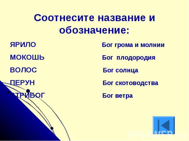 Соотнесите название и обозначение:ЯРИЛО Бог грома и молнииМОКОШЬ Бог плодородияВОЛОС Бог солнцаПЕРУН Бог скотоводстваСТРИБОГ Бог ветра