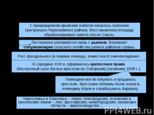 XVII век: сельское хозяйствоС прекращением крымских набегов началось освоениеЦен