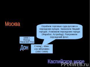 Восстание Степана Разина (1667-1671)Первый этапОграбили торговые суда русских и