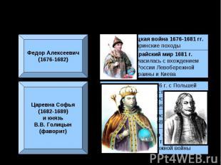 Внешняя политика в конце XVII в.Федор Алексеевич(1676-1682)Царевна Софья(1682-16