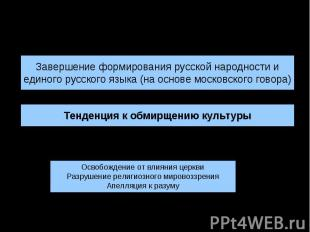 Культура России XVII в.:основные тенденцииЗавершение формирования русской народн