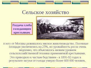 Сельское хозяйствоРаздача хлебаголодающимкрестьянам.К югу от Москвы развивалось