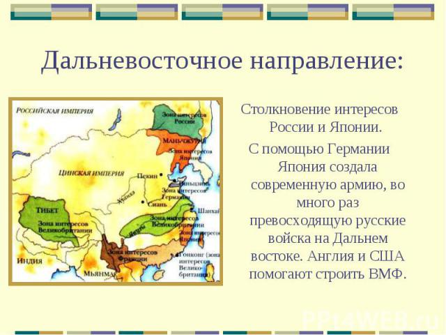 Дальневосточное направление:Столкновение интересов России и Японии. С помощью Германии Япония создала современную армию, во много раз превосходящую русские войска на Дальнем востоке. Англия и США помогают строить ВМФ.