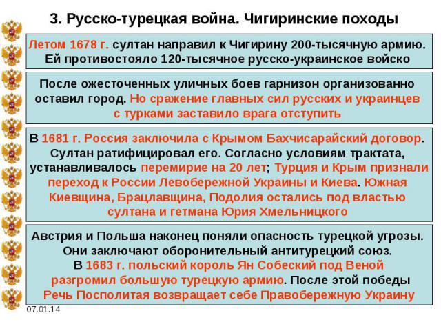 3. Русско-турецкая война. Чигиринские походыЛетом 1678 г. султан направил к Чигирину 200-тысячную армию. Ей противостояло 120-тысячное русско-украинское войско После ожесточенных уличных боев гарнизон организованно оставил город. Но сражение главных…