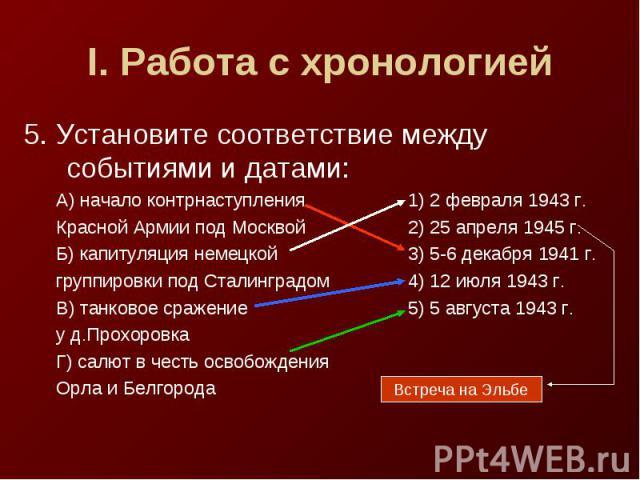 I. Работа с хронологией5. Установите соответствие между событиями и датами:А) начало контрнаступления1) 2 февраля 1943 г.Красной Армии под Москвой2) 25 апреля 1945 г.Б) капитуляция немецкой3) 5-6 декабря 1941 г.группировки под Сталинградом4) 12 июля…