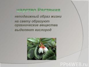 царство Растениянеподвижный образ жизнина свету образуют органические веществавы