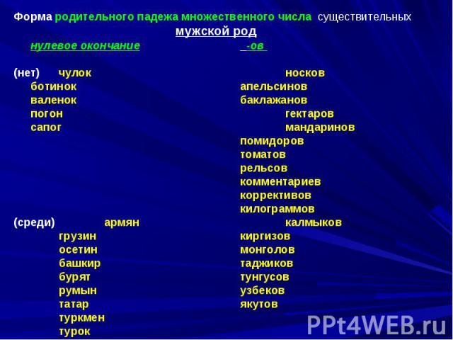 Форма родительного падежа множественного числа существительныхмужской роднулевое окончание -ов (нет) чулокносковботинокапельсиновваленокбаклажановпогонгектаровсапогмандариновпомидоровтоматоврельсовкомментариевкоррективовкилограммов(среди)армянкалмык…
