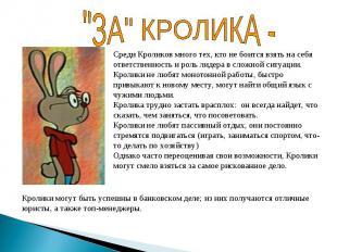 """""""ЗА"""" КРОЛИКА - Среди Кроликов много тех, кто не боится взять на себя ответственн"""