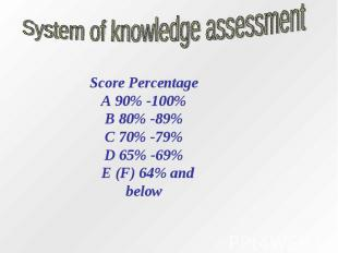 System of knowledge assessmentScore PercentageA 90% -100%B 80% -89%C 70% -79%D 6