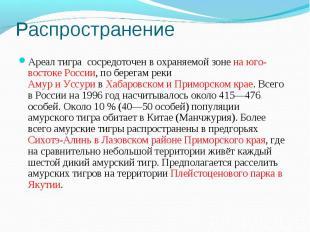 РаспространениеАреал тигра сосредоточен в охраняемой зоне на юго-востоке России