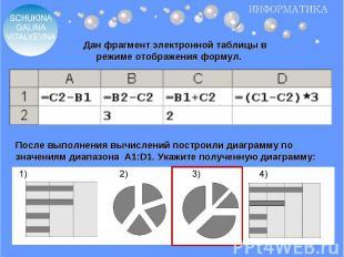 Дан фрагмент электронной таблицы в режиме отображения формул.После выполнения вы