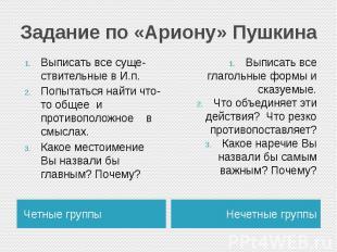 Задание по «Ариону» ПушкинаВыписать все суще-ствительные в И.п.Попытаться найти