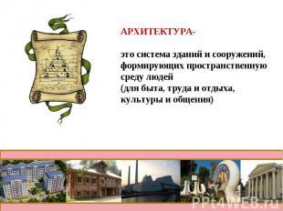 АРХИТЕКТУРА- это система зданий и сооружений,формирующих пространственную среду