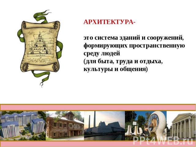 АРХИТЕКТУРА- это система зданий и сооружений,формирующих пространственную среду людей(для быта, труда и отдыха, культуры и общения)