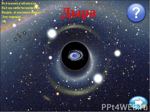 Всё комета облетела,Всё на небе осмотрела.Видит, в космосе нора -Это черная …Дыра