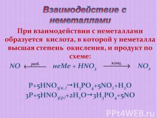 Взаимодействие с неметалламиПри взаимодействии с неметаллами образуется кислота,