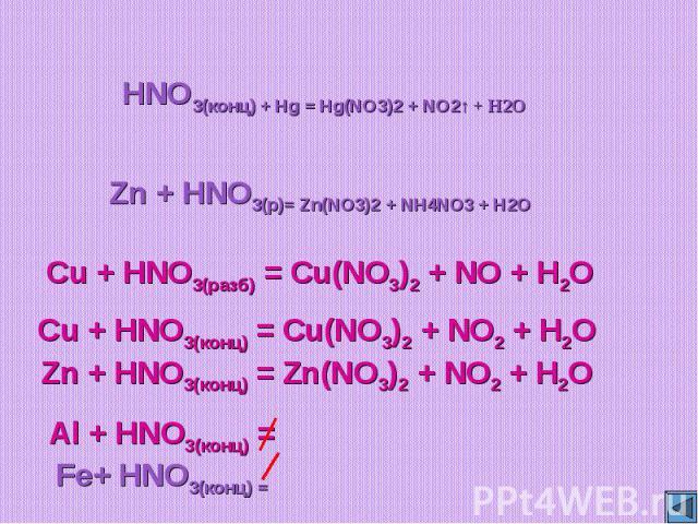 HNO3(конц) + Hg = Hg(NO3)2 + NO2↑ + H2OZn + HNO3(р)= Zn(NO3)2 + NH4NO3 + H2OCu + HNO3(разб) = Cu(NO3)2 + NO + H2OCu + HNO3(конц) = Cu(NO3)2 + NO2 + H2OZn + HNO3(конц) = Zn(NO3)2 + NO2 + H2O