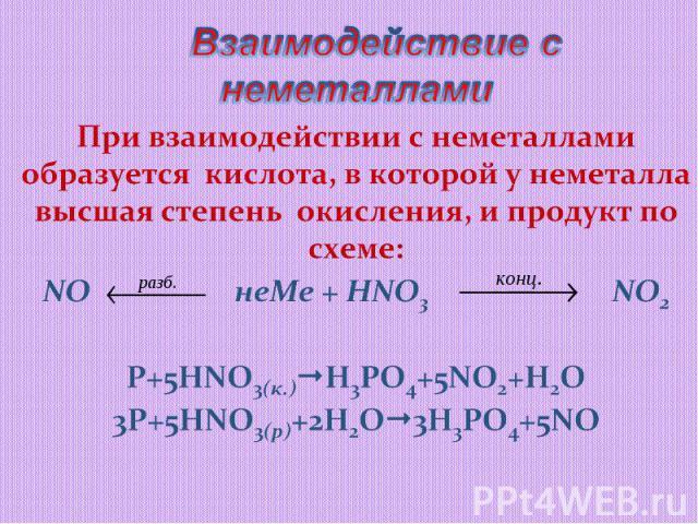 Взаимодействие с неметалламиПри взаимодействии с неметаллами образуется кислота, в которой у неметалла высшая степень окисления, и продукт по схеме:NO неMe + HNO3 NO2P+5HNO3(к.)H3PO4+5NO2+H2O3P+5HNO3(р)+2H2O3H3PO4+5NO