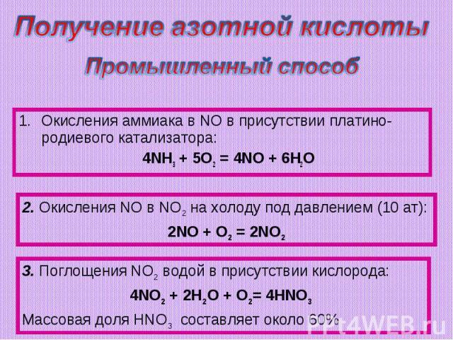 Получение азотной кислотыПромышленный способОкисления аммиaка в NO в присутствии платино-родиевого катализатора: 4NH3 + 5O2 = 4NO + 6H2O2. Окисления NO в NO2 на холоду под давлением (10 ат):2NO + O2 = 2NO23. Поглощения NO2 водой в присутствии кислор…