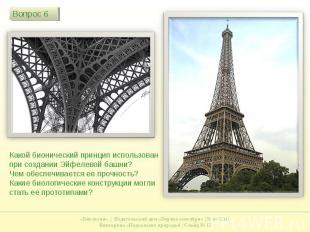 Какой бионический принцип использован при создании Эйфелевой башни? Чем обеспечи