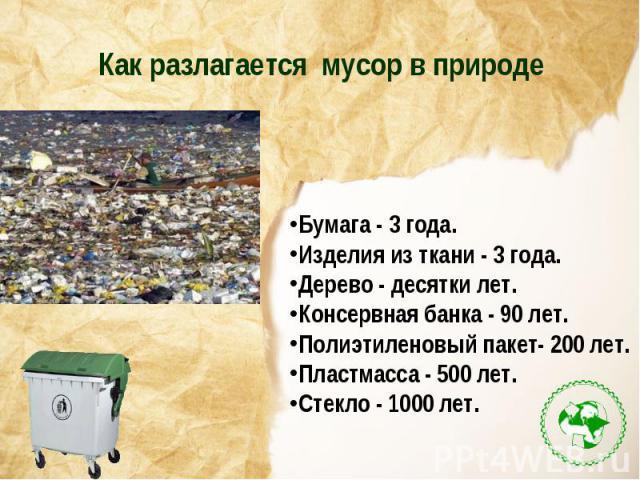 Как разлагается мусор в природеБумага - 3 года.Изделия из ткани - 3 года.Дерево - десятки лет.Консервная банка - 90 лет.Полиэтиленовый пакет- 200 лет.Пластмасса - 500 лет.Стекло - 1000 лет.