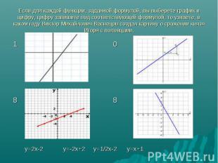Если для каждой функции, заданной формулой, вы выберете график и цифру, цифру за