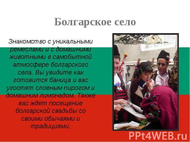 Болгарское селоЗнакомство с уникальными ремеслами и с домашними животными в самобытной атмосфере болгарского села. Вы увидите как готовится баница и вас угостят слоеным пирогом и домашним лимонадом. Также вас ждет посещение болгарской свадьбы со сво…