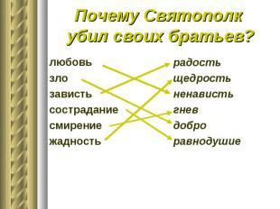 Почему Святополк убил своих братьев?любовьзлозавистьсостраданиесмирениежадность