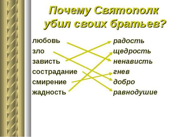 Почему Святополк убил своих братьев?любовьзлозавистьсостраданиесмирениежадность радостьщедростьненавистьгневдоброравнодушие