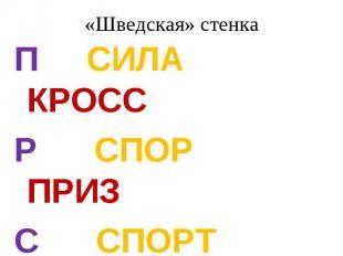 «Шведская» стенкаП СИЛА КРОССР СПОР ПРИЗС СПОРТ КРОСС