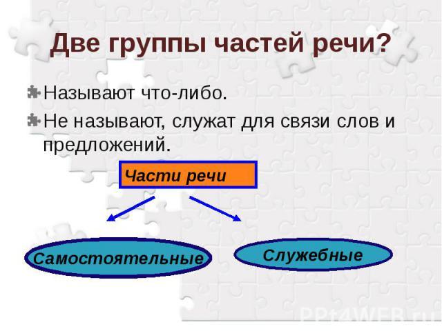 Две группы частей речи?Называют что-либо.Не называют, служат для связи слов и предложений.