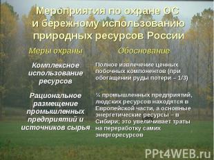Мероприятия по охране ОС и бережному использованию природных ресурсов России