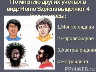 По мнению других учёных в виде Homo Sapiens выделяют 4 больше расы:1.Монголоидна