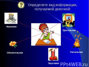 Определите вид информации, получаемой девочкой: