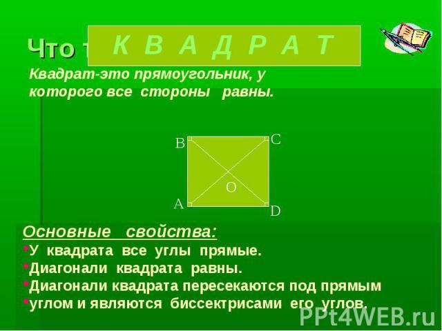 Квадрат-это прямоугольник, у которого все стороны равны.Основные свойства:У квадрата все углы прямые.Диагонали квадрата равны.Диагонали квадрата пересекаются под прямым углом и являются биссектрисами его углов.