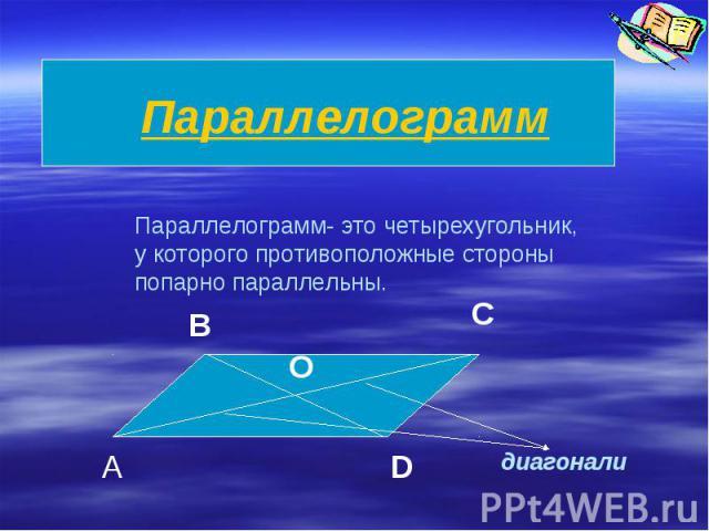 ПараллелограммПараллелограмм- это четырехугольник,у которого противоположные стороныпопарно параллельны.