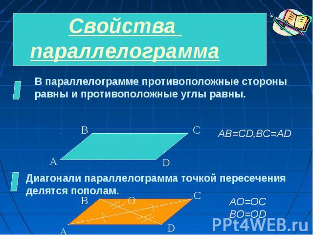 Свойства параллелограммаВ параллелограмме противоположные стороны равны и противоположные углы равны.Диагонали параллелограмма точкой пересеченияделятся пополам.