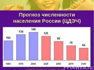Прогноз численности населения России (ЦДЭЧ)