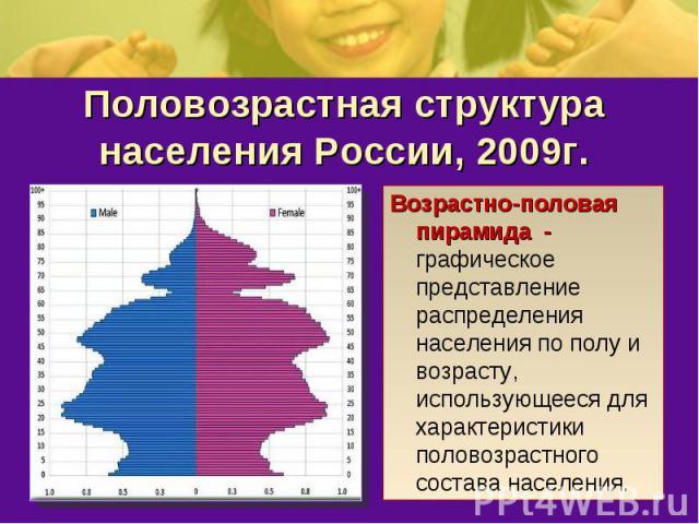 Половозрастная структура населения России, 2009г.Возрастно-половая пирамида - графическое представление распределения населения по полу и возрасту, использующееся для характеристики половозрастного состава населения.