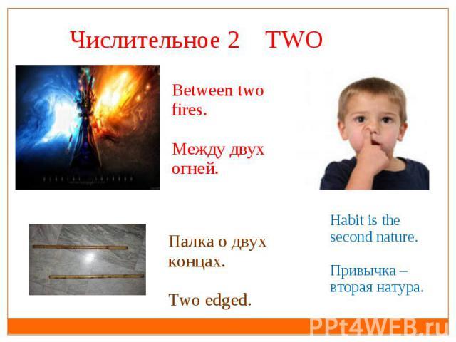 Числительное 2 TWO Between two fires.Между двух огней.Палка о двух концах.Two edged.Habit is the second nature.Привычка – вторая натура.