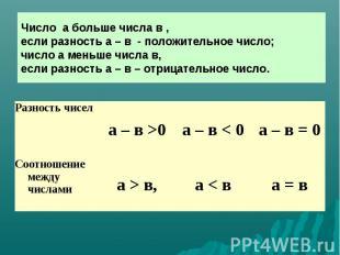 Число а больше числа в , если разность а – в - положительное число; число а мень