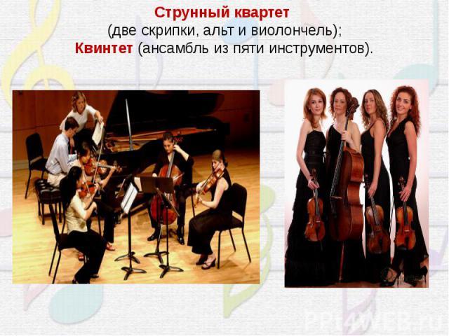 Струнный квартет(две скрипки, альт и виолончель);Квинтет (ансамбль из пяти инструментов).