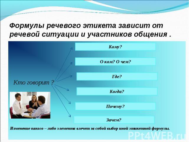Формулы речевого этикета зависит от речевой ситуации и участников общения . Кто говорит ? Изменение какого – либо элемента влечет за собой выбор иной этикетной формулы.