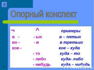 Опорный конспект¬ ^ примеры в - - ых в – пятых во - - и в третьих кое - кое – ку