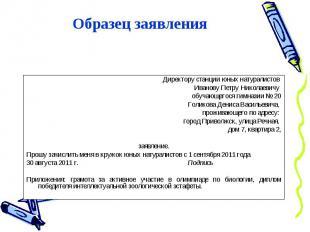 Образец заявленияДиректору станции юных натуралистов Иванову Петру Николаевичу о