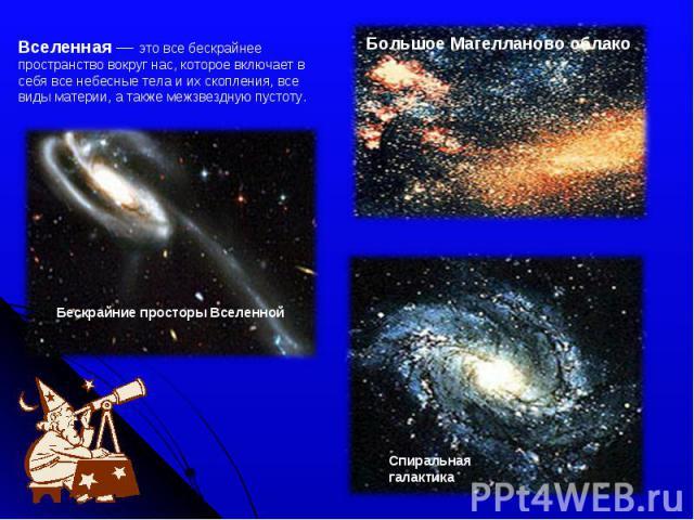 Вселенная — это все бескрайнее пространство вокруг нас, которое включает в себя все небесные тела и их скопления, все виды материи, а также межзвездную пустоту. Большое Магелланово облако Бескрайние просторы Вселенной